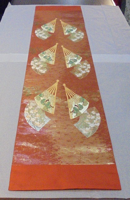 正絹・オレンジ扇花華 31cm幅x150cm長